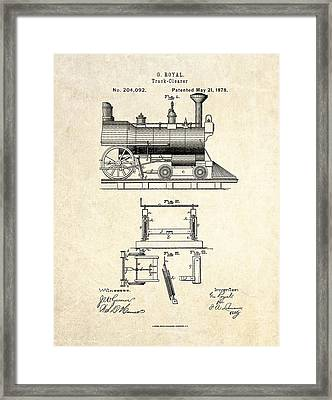 1878 Railroad Track Clearer Patent Art Framed Print by Gary Bodnar