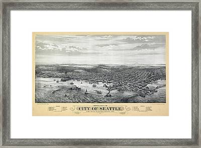 1878 Seattle Washington Map Framed Print by Daniel Hagerman