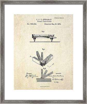1878 Steinway Grand Piano Forte Patent Art S.2 Framed Print