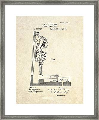 1878 Steinway Piano Forte Action Patent Art  Framed Print by Gary Bodnar