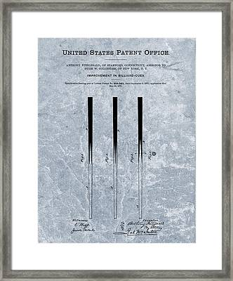 1879 Pool Cue Patent Blue Framed Print by Dan Sproul
