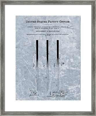 1879 Pool Cue Patent Blue Framed Print