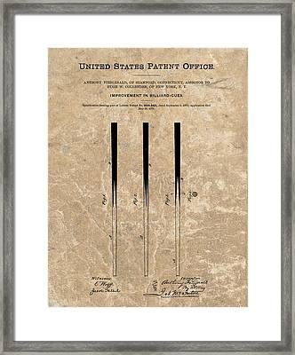 1879 Pool Cue Patent Framed Print