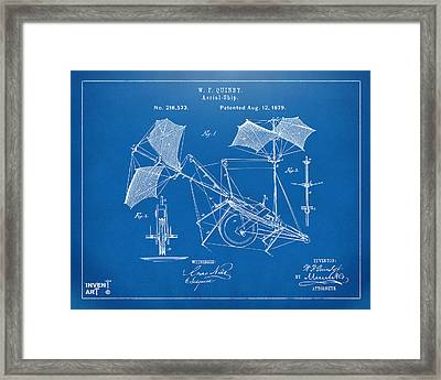 1879 Quinby Aerial Ship Patent - Blueprint Framed Print by Nikki Marie Smith