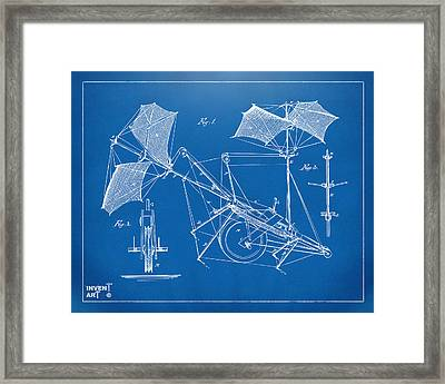 1879 Quinby Aerial Ship Patent Minimal - Blueprint Framed Print by Nikki Marie Smith