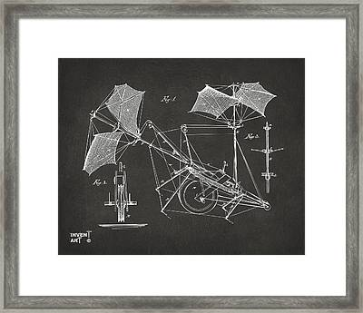 1879 Quinby Aerial Ship Patent Minimal - Gray Framed Print by Nikki Marie Smith