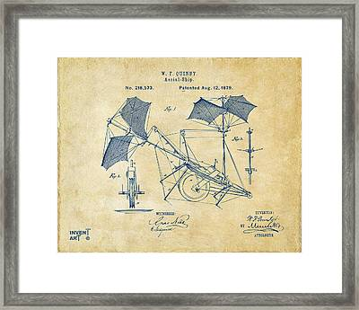1879 Quinby Aerial Ship Patent - Vintage Framed Print by Nikki Marie Smith