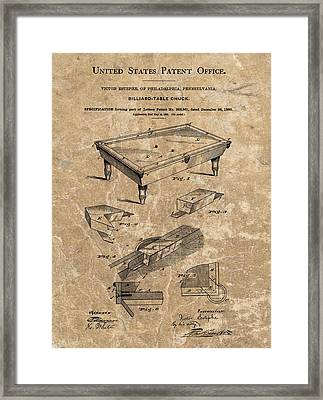 1880 Billiard Table Patent Framed Print by Dan Sproul