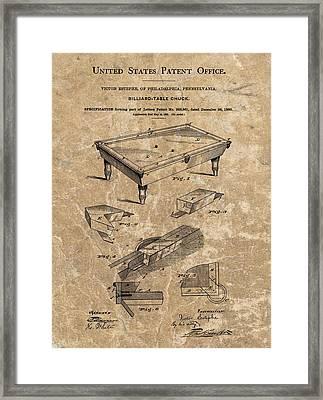 1880 Billiard Table Patent Framed Print