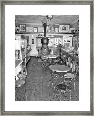 1880 Drug Store Black And White Framed Print