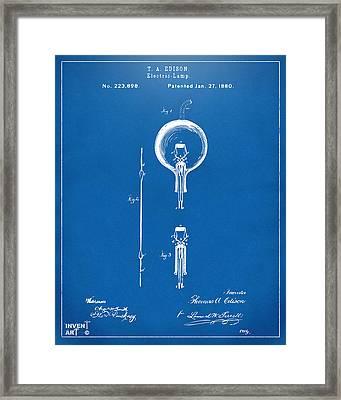 1880 Edison Electric Lamp Patent Artwork Blueprint Framed Print