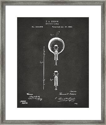 1880 Edison Electric Lamp Patent Artwork - Gray Framed Print by Nikki Marie Smith