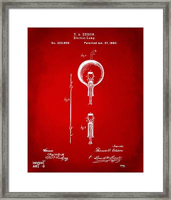 1880 Edison Electric Lamp Patent Artwork Red Framed Print