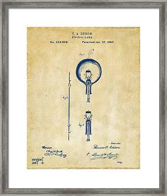 1880 Edison Electric Lamp Patent Artwork Vintage Framed Print