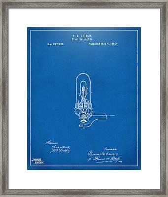 1880 Edison Electric Lights Patent Artwork - Blueprint Framed Print