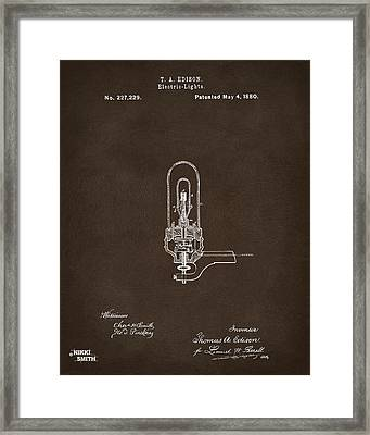 1880 Edison Electric Lights Patent Artwork Espresso Framed Print by Nikki Marie Smith