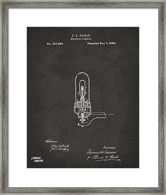 1880 Edison Electric Lights Patent Artwork - Gray Framed Print by Nikki Marie Smith
