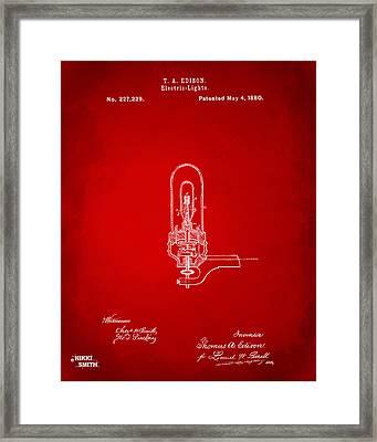 1880 Edison Electric Lights Patent Artwork - Red Framed Print