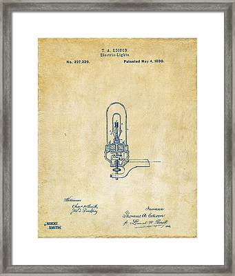 1880 Edison Electric Lights Patent Artwork - Vintage Framed Print by Nikki Marie Smith