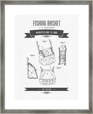 1880 Fishing Basket Patent Drawing Framed Print by Aged Pixel
