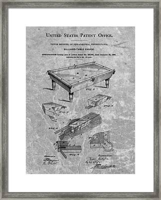 1880 Pool Table Patent Charcoal Framed Print