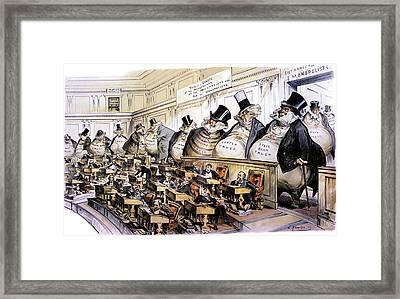 1880s 1889 Puck Political Cartoon Framed Print
