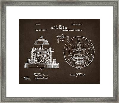 1881 Alexander Graham Bell Electric Call Bell Patent Espresso Framed Print by Nikki Marie Smith