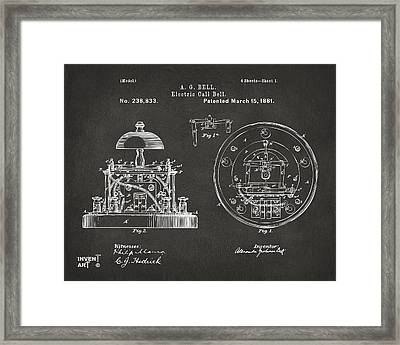 1881 Alexander Graham Bell Electric Call Bell Patent Gray Framed Print by Nikki Marie Smith