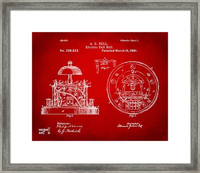 1881 Alexander Graham Bell Electric Call Bell Patent Red Framed Print by Nikki Marie Smith