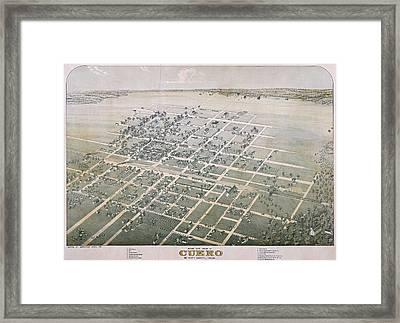 1881 Antique Map Of Cuero Texas Framed Print