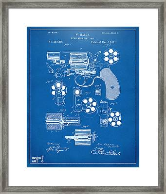 1881 Colt Revolving Fire Arm Patent Artwork - Blueprint Framed Print by Nikki Marie Smith