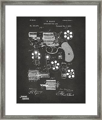 1881 Colt Revolving Fire Arm Patent Artwork - Gray Framed Print by Nikki Marie Smith