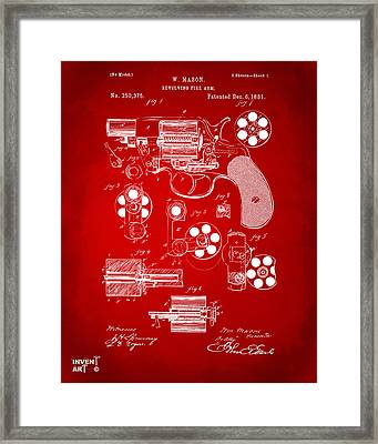 1881 Colt Revolving Fire Arm Patent Artwork Red Framed Print by Nikki Marie Smith