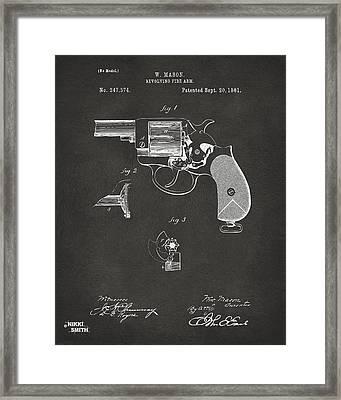 1881 Mason Colt Revolving Fire Arm Patent Artwork - Gray Framed Print