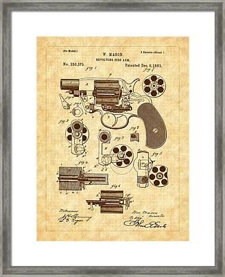 1881 Mason Revolver Firearm Patent Framed Print by Barry Jones