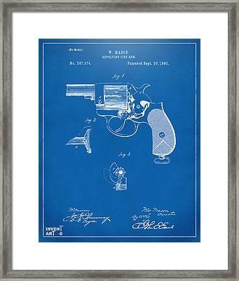 1881 Mason Revolving Fire Arm Patent Artwork Blueprint Framed Print by Nikki Marie Smith
