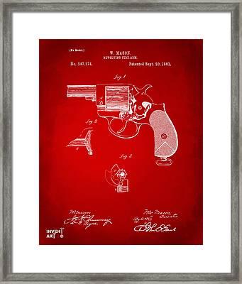 1881 Mason Revolving Fire Arm Patent Artwork Red Framed Print by Nikki Marie Smith