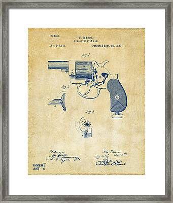 1881 Mason Revolving Fire Arm Patent Artwork Vintage Framed Print by Nikki Marie Smith