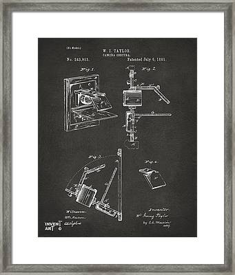 1881 Taylor Camera Obscura Patent Gray Framed Print by Nikki Marie Smith