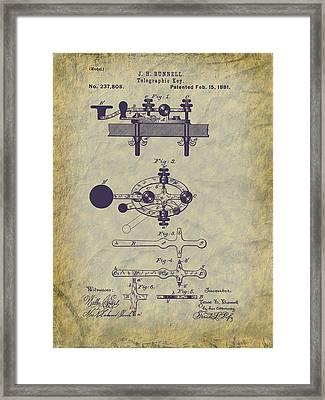 1881 Telegraph Key Patent Art Framed Print