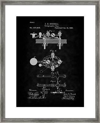 1881 Telegraph Key Patent Art-bk Framed Print