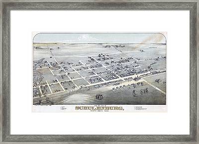1881 Vintage Map Of Schulenburg Texas Framed Print