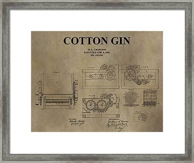 1882 Cotton Gin Patent Framed Print by Dan Sproul
