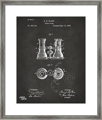 1882 Opera Glass Patent Artwork - Gray Framed Print