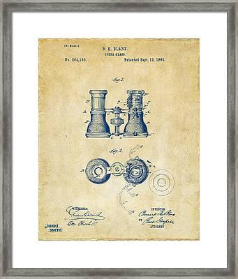 1882 Opera Glass Patent Artwork - Vintage Framed Print