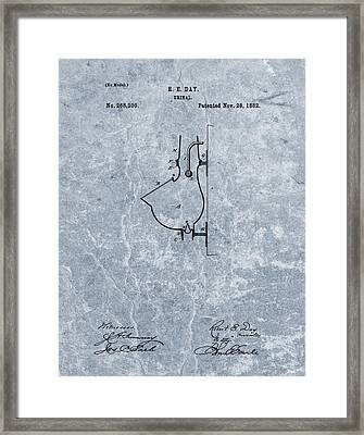 1882 Urinal Patent Blue Framed Print by Dan Sproul