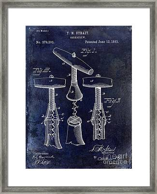 1883 Corkscrew Patent Drawing Framed Print