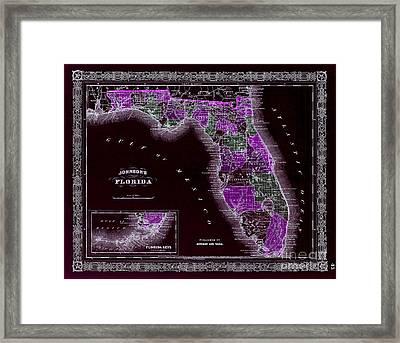 1883 Florida Map Black Framed Print by Jon Neidert