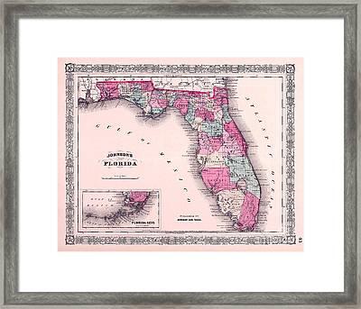 1883 Florida Map  Framed Print by Jon Neidert