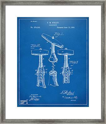 1883 Wine Corckscrew Patent Artwork - Blueprint Framed Print by Nikki Marie Smith